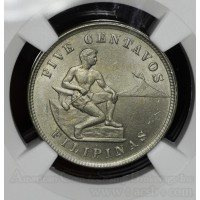 Philippines 5 Centavos 1903 MS63 NGC CN KM#164 Frosty