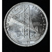Portugal 20 Escudos 1966 MS63 silver KM#592 frsty white