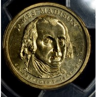 $1 One Dollar 2007 P Pres. MS65 J. Madison 1st Day of Issue PCGS