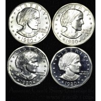 $1 One Dollar 1980 PDSS SBA MS64-PR69-DCAM 4 coin set