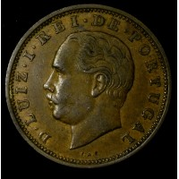 Portugal 20 Reis 1883 AU50 bronze KM#527 fnt spcks red