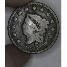 1c One Cent Penny 1827 G6 deep brown toning