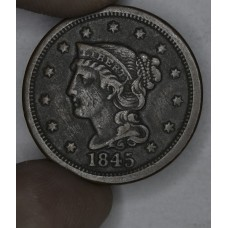 1c One Cent Penny 1845 F15 chestnut brown tone