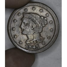 1c One Cent Penny 1845 VG8 medium brown toning