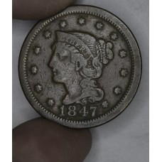 1c One Cent Penny 1847 F12 light chocolate brown