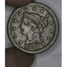 1c One Cent Penny 1851 F15 even chocolate brown