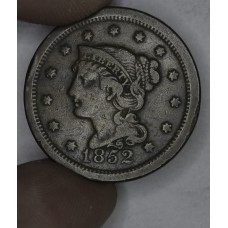 1c One Cent Penny 1852 F12 streaked brown tones