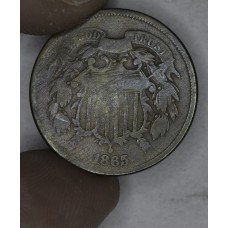 2c Two Cents 1865 G6 repunched date