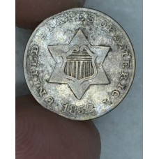 3c Three Cents 1852 Silver F12 Type 1 light grey tone
