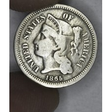 3c Three Cents 1865 Nickel F12 light grey tone