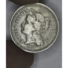 3c Three Cents 1867 Nickel F12 light original toning