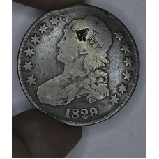 50c Half Dollar 1829 G6 sm gouge in Liberty