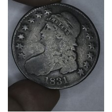 50c Half Dollar 1831 G6 rich brown toning