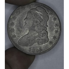 50c Half Dollar 1836 Capped Lettered F15 lt tn