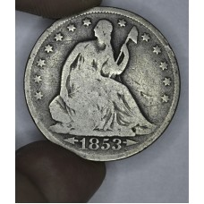 50c Half Dollar 1853 G5 W/Arrows & Rays golden grey toning