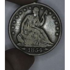 50c Half Dollar 1854 G6 W/Arrows even golden brown