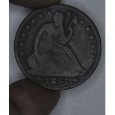 50c Half Dollar 1854 G4 W/Arrows deep brown toning