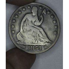 50c Half Dollar 1854 O G4 W/Arrows light original toning