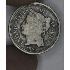 3c Three Cents 1865 Nickel G4 grey field and edges