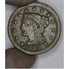 1c One Cent Penny 1849 F12 even chocolate brown