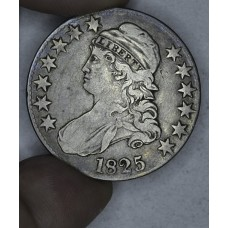 50c Half Dollar 1825 F15 lt rev scratches even toning