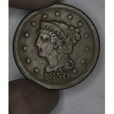 1c One Cent Penny 1850 F12 even caramel brown