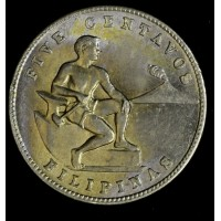 Philippines 5 Centavos 1944 S MS64 copper-nickel-zinc KM#180a blazing gold