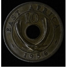 East Africa 10 Cents 1956 MS63 BN bronze KM#38 mahogany
