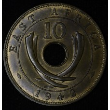 East Africa 10 Cents 1942 UNC RB bronze KM#26.2 lt tone