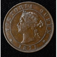 Prince Edward Island 1 Cent 1871 EF45 bronze KM#4 choice choc brown