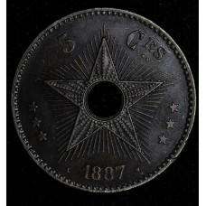Congo Free State 5 Centimes 1887 UNC Details copper KM#3 evn tn
