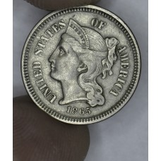3c Three Cents 1865 Nickel EF45 light grey tone
