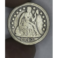 10c Dime 1843 F12 even bright grey choice example