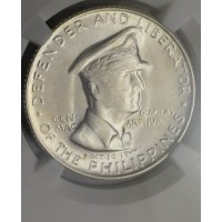Philippines 50 Centavos 1947 S MS65 NGC silver KM#184 Macarthur