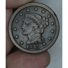 1c One Cent Penny 1845 VG10 rich brown toning