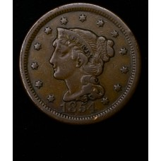 1c One Cent Penny 1854 VF20 even orig. brown