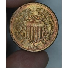 2c Two Cents 1865 VG10 lt chocolate brn