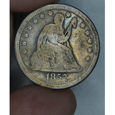 25 Cent Quarter 1857 VG10 gold brown tone