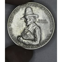 50c Half Dollar 1920 Pilgrim AU50 grey tn