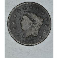 1c One Cent Penny 1827 G6 even walnut brn slight verdigris