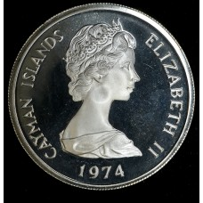 Cayman Islands 5 Cents 1974 Proof silver crown KM#8 bright nice