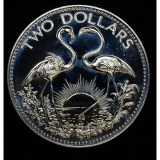 Bahamas $2 Dollars 1975 FM(P) Proof silver KM#66a brllnt