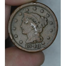 1c One Cent Penny 1848 F15 choc brown REV porosity even tn