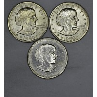 $1 One Dollar 1980 PDS SBA MS64-MS65 3 coins choice