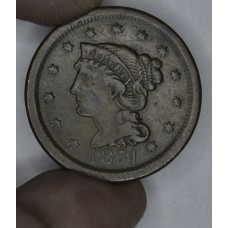 1c One Cent Penny 1851 F15 BN even orig. chocolate brown