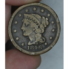 1c One Cent Penny 1846 VG8 Small Date small rim hits