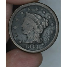 1c One Cent Penny 1844 G4 even chestnut tone