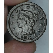 1c One Cent Penny 1845 F15 even brown toning