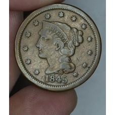 1c One Cent Penny 1845 F12 even brown toning