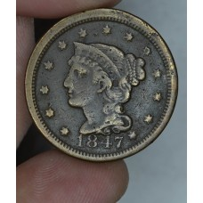 1c One Cent Penny 1847 F12 reddish brown hues baggy
